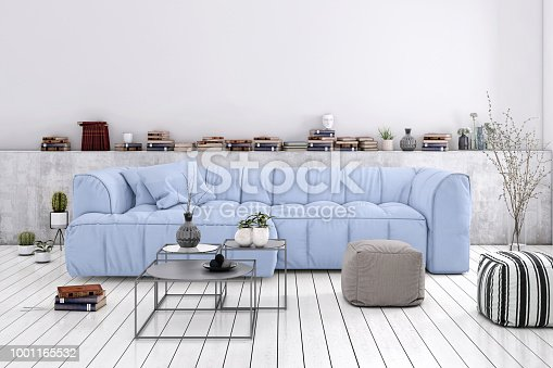 Home apartment interior, living room with large sofa, lots of decor and elements, plant, vase, coffee table, pastel colors with many elements around.  modern contemporary hipster style interior. copy space wall for designers
