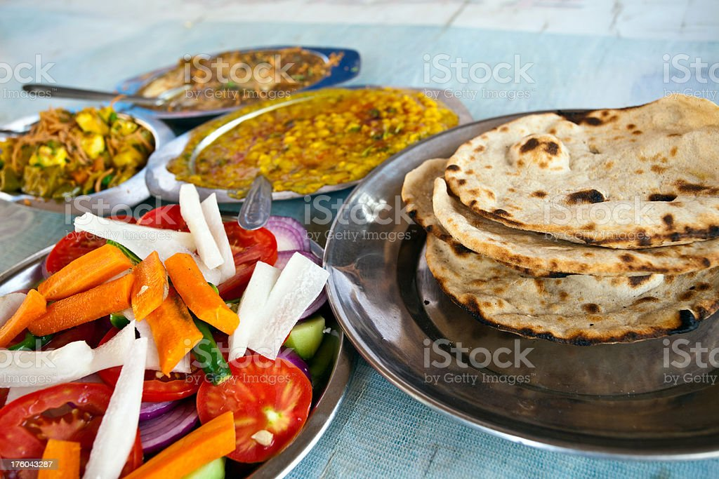 Authentic Indian food Salad served at roadside highway restaurant Dhaba stock photo