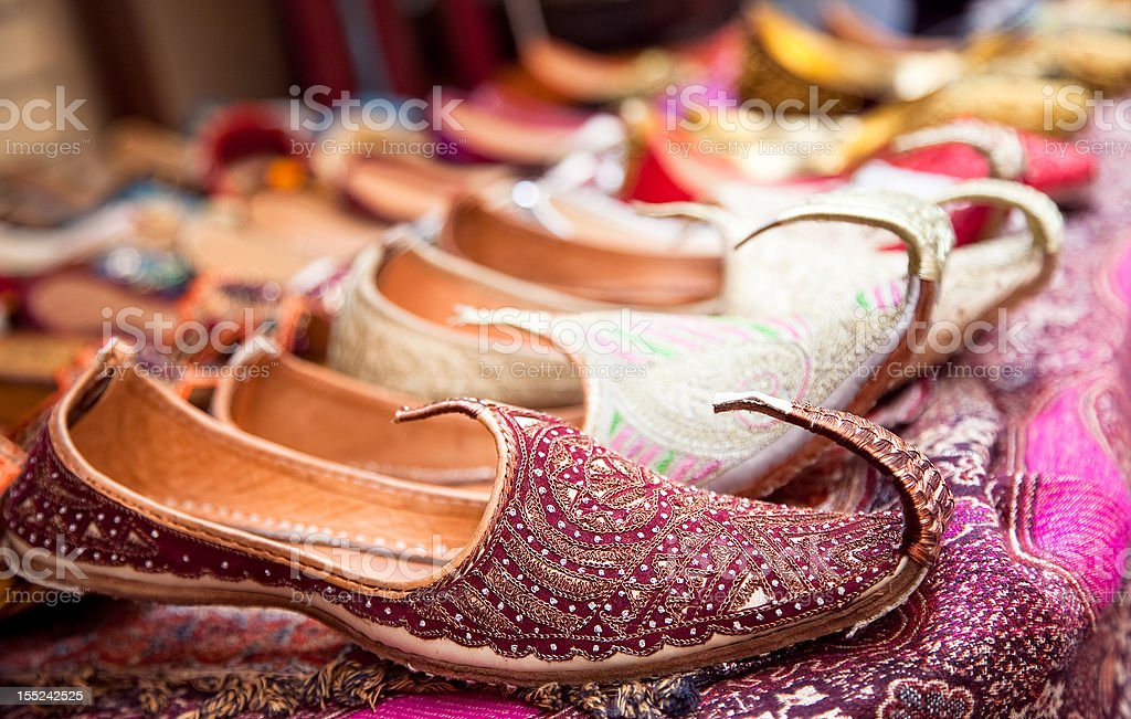 Authentic Iranian woman's shoes in Vakili bazaar stock photo