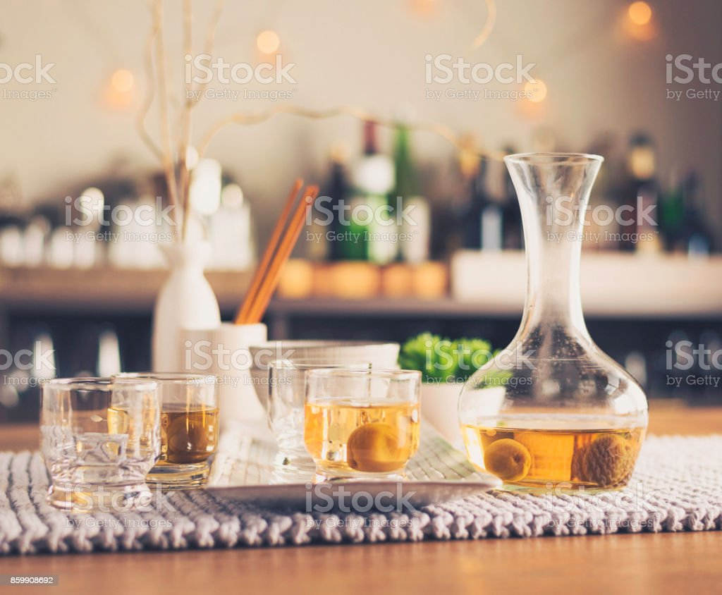 Authentic Japanese plum wine with ume plums royalty-free stock photo