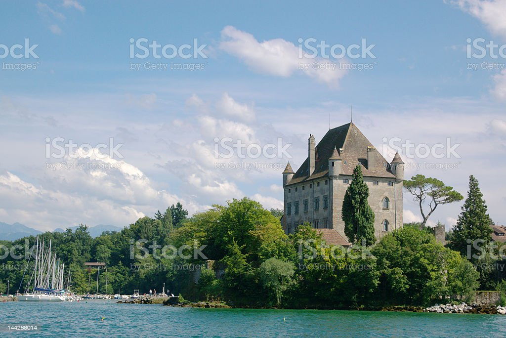 authentic mansion on lake shore royalty-free stock photo
