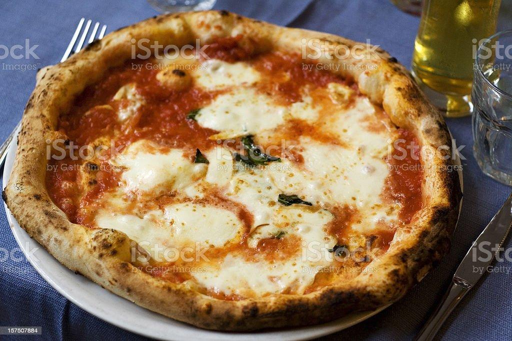 Authentic, Neapolitan margherita pizza stock photo