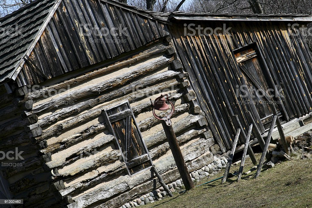 Authentic Old Log Cabin on a Tilt royalty-free stock photo
