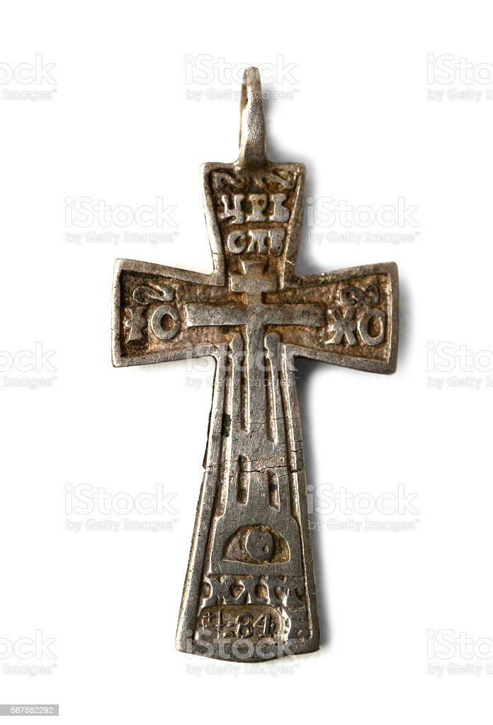 authentic old or ancient small cross stock photo