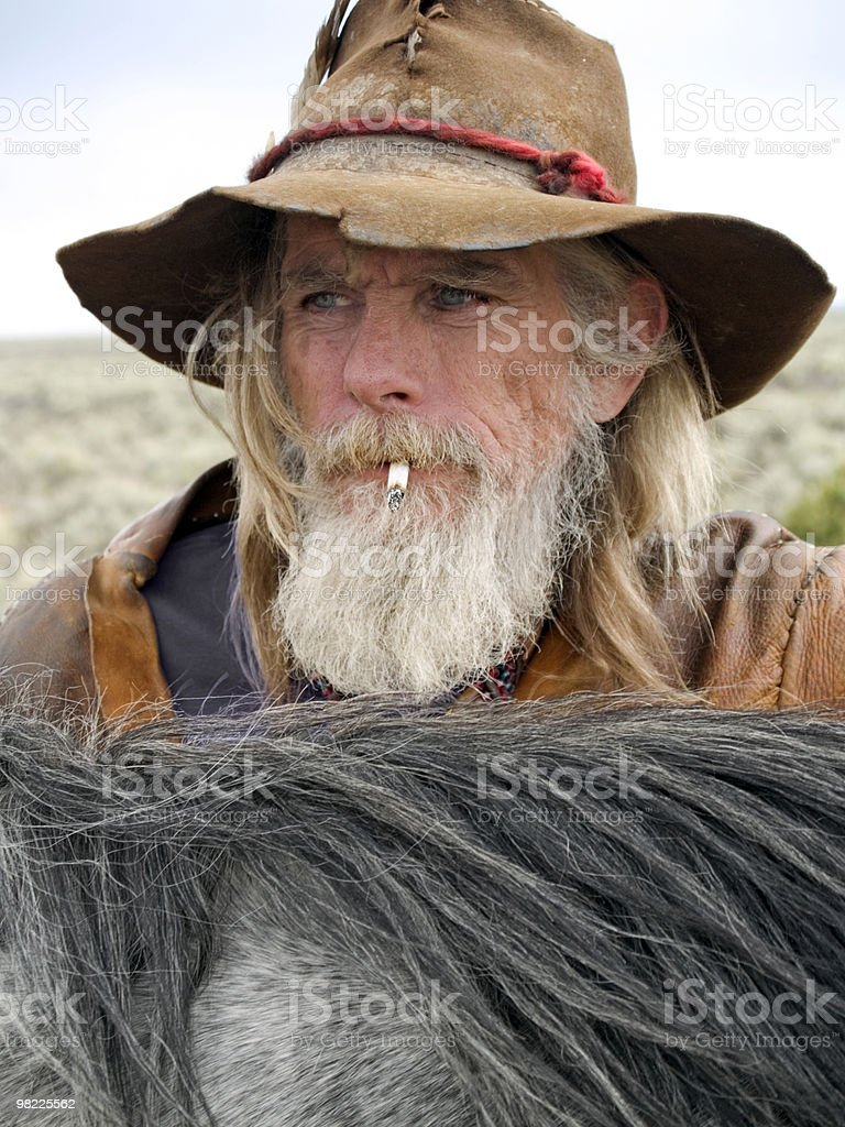 Authentic older cowboy royalty-free stock photo