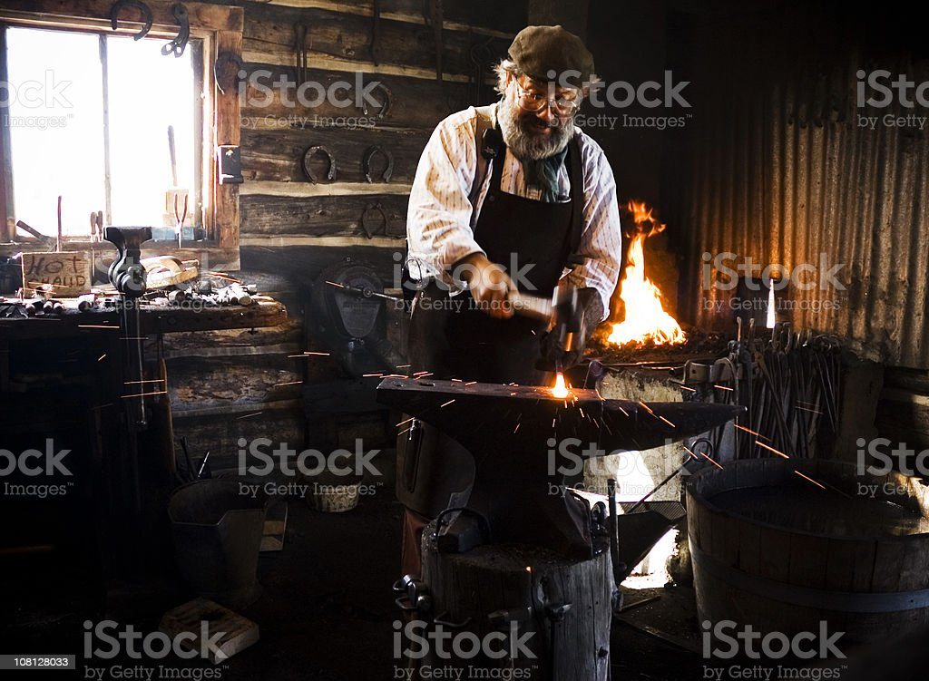 Authentic Old-Fashioned BlackSmith stock photo