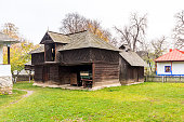 Authentic peasant farms and houses from all over Romania in Dimitrie Gusti National Village Museum, an open-air ethnographic museum located in the King Michael I Park, showcasing traditional Romanian village life