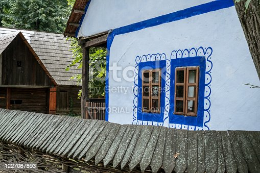 Bucharest, Romania, September 5, 2017. Authentic peasant farms and houses from all over Romania in Dimitrie Gusti National Village Museum, an open-air ethnographic museum located in the Herastrau Park showcasing traditional Romanian village life