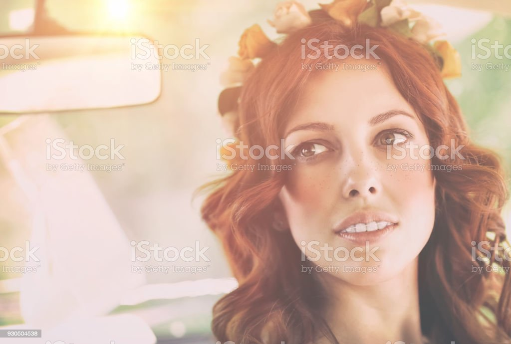 Authentic portrait of a nice redhead female stock photo