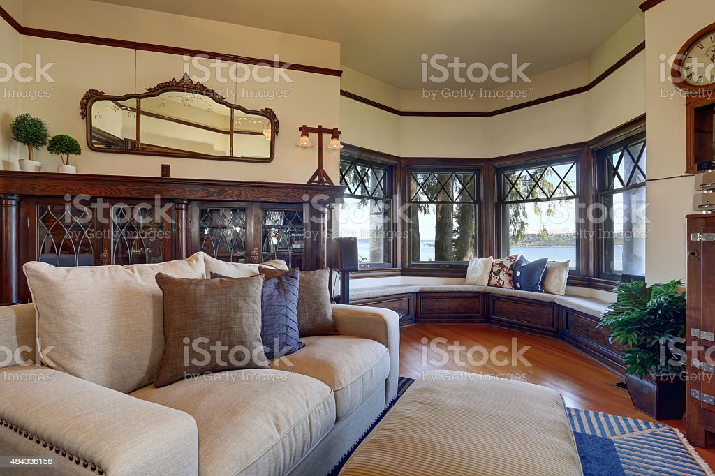 Authentic Styled Living Room With Royal Blue Rug Stock Photo