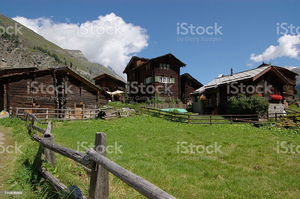 authentic swiss village royalty-free stock photo