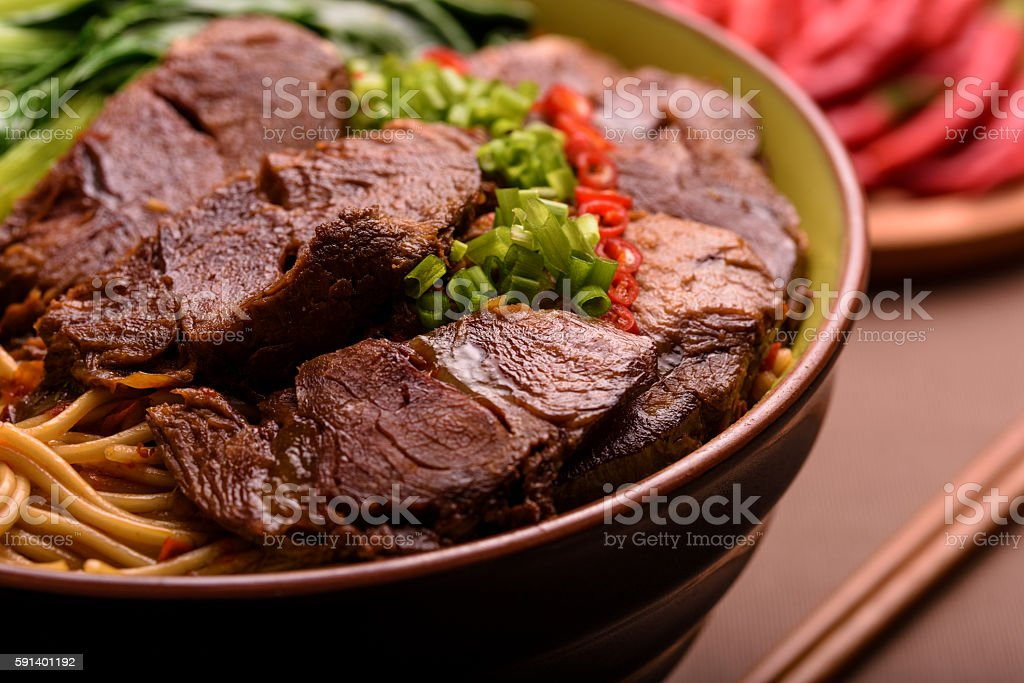 Authentic Taiwanese beef noodle soup bowl stock photo