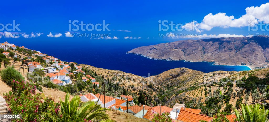 Authentic traditional Greece - beautiful Andros island. Cyclades stock photo