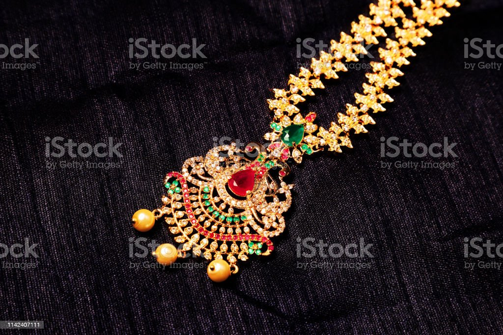 Authentic Traditional Indian Jewelery Necklace On Dark Background Wear In Neck In Wedding Festivals And Other Occasion Very Useful Image For Website Printing Mobile Application Stock Photo Download Image Now Istock