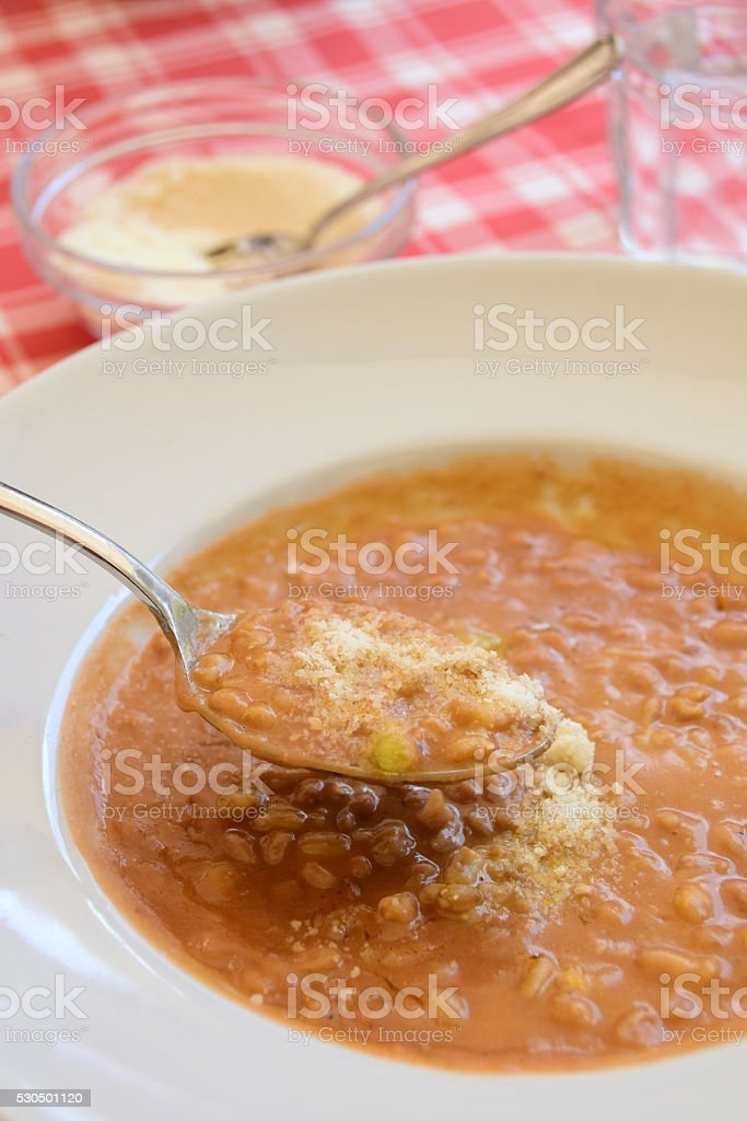 Authentic Tuscan Farro Soup stock photo