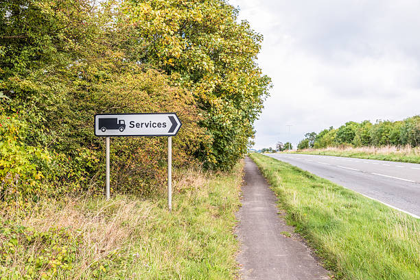 Authentic UK Motorway Directional Truck Services Sign - Photo