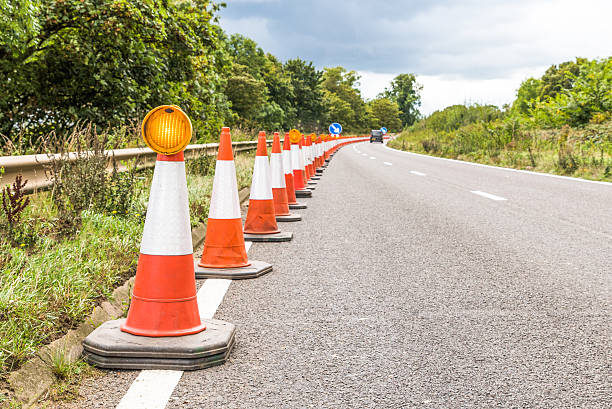 Authentic UK Motorway Roadworks Warning Traffic Cones - Photo