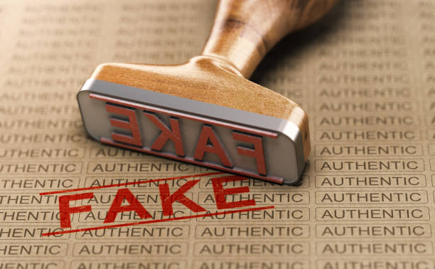 Authentic vs Fake Poduct. Counterfeit Concept stock photo