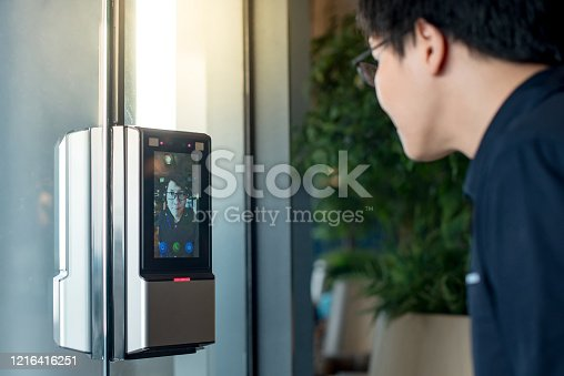 istock Authentication by facial recognition. Biometric security system 1216416251