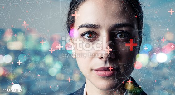 istock Authentication by facial recognition concept. Biometric. Security system. 1168098192