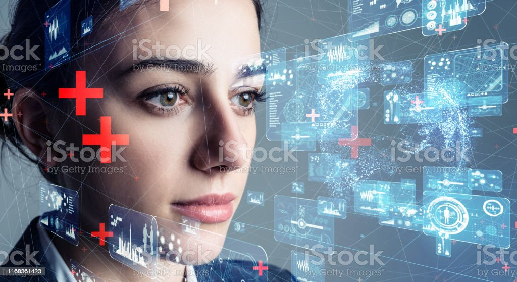 Authentication by facial recognition concept. Biometric. Security system. - Royalty-free 5G Stock Photo