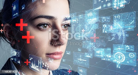 istock Authentication by facial recognition concept. Biometric. Security system. 1168361423