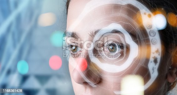 861189748 istock photo Authentication by facial recognition concept. Biometric. Security system. 1168361428