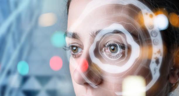 顔認識概念による認証。バイオ メトリック。セキュリティシステム。 - 人間の眼 ストックフォトと画像