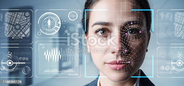 istock Authentication by facial recognition concept. Biometric. Security system. 1168365129