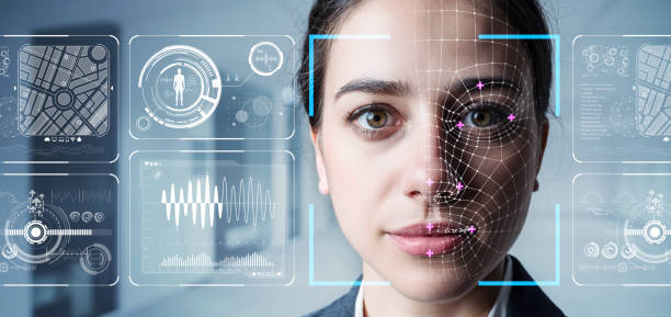 autenticación por concepto de reconocimiento facial. biométricos. sistema de seguridad. - inteligencia artificial fotografías e imágenes de stock