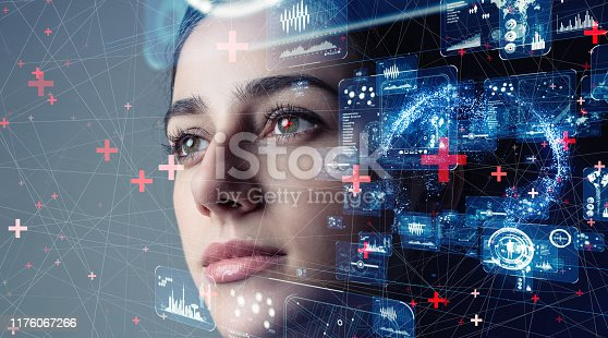 istock Authentication by facial recognition concept. Biometric. Security system. 1176067266