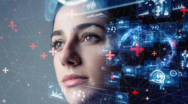 Authentication by facial recognition concept. Biometric. Security system. stock photo