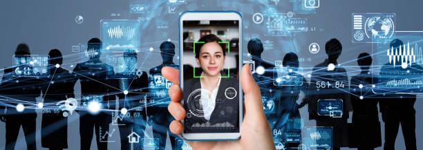 顔認識の概念による認証。バイオ メトリック。セキュリティシステム。 - 人の年齢 ストックフォトと画像