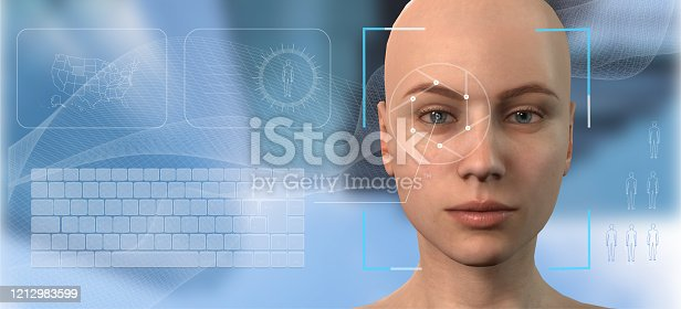 861189748 istock photo Authentication by facial recognition concept. Biometric. Security system. The concept of computer vision and artificial intelligence. 3d illustration 1212983599