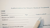 Authorization for Minor's medical Treatment print form. Child Name, Birthdate, age and other