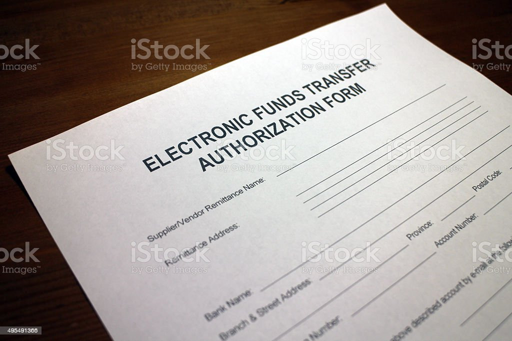 EFT Authorization Form stock photo