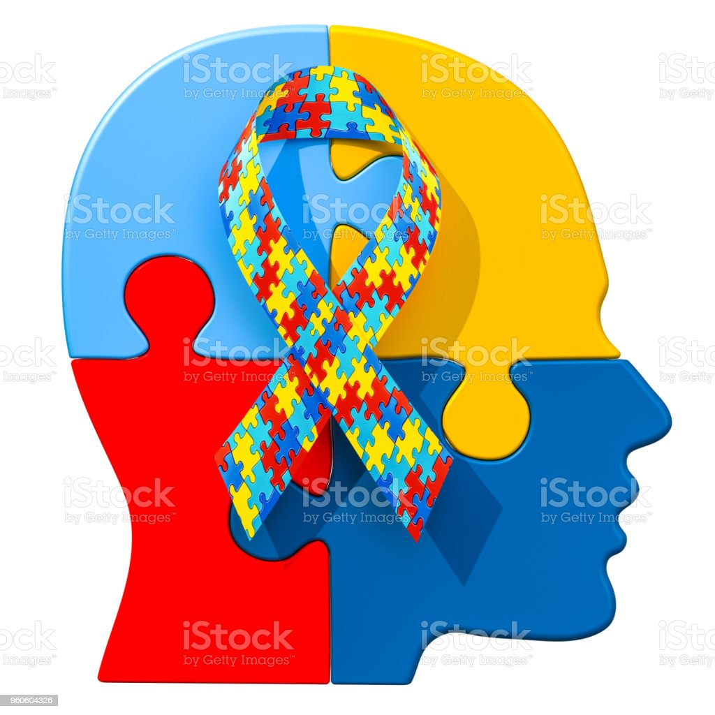 Autism awareness ribbon on the human head from puzzles. 3D rendering stock photo