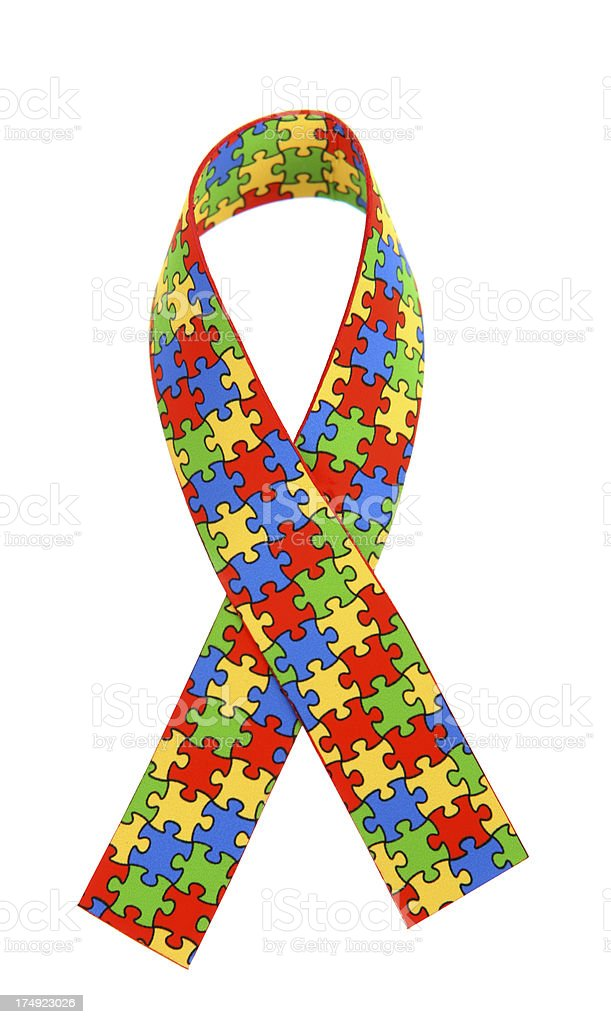 Autism Awareness Ribbon stock photo
