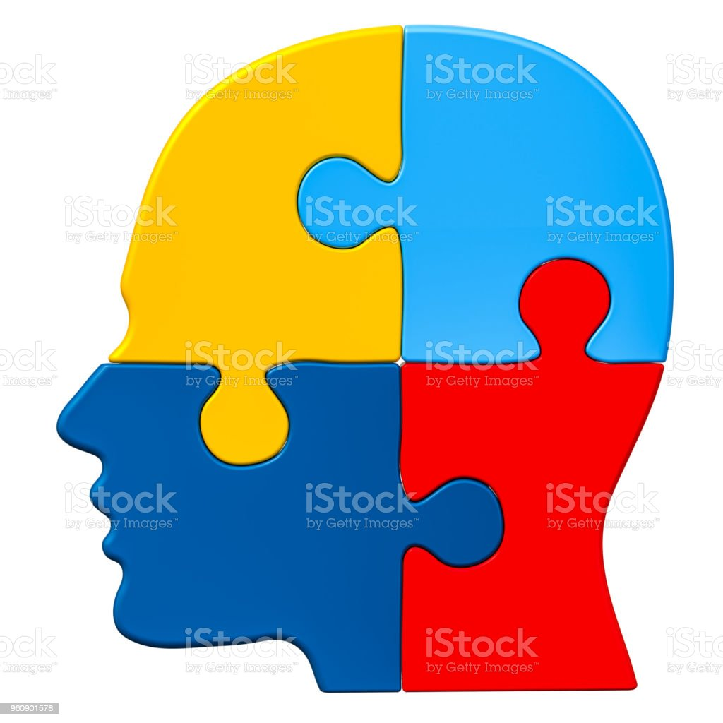 Autism concept, human head from puzzles. 3D rendering isolated on white background stock photo