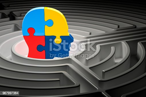 istock Autism concept, human head from puzzles at center of a maze. 3D rendering 967997384