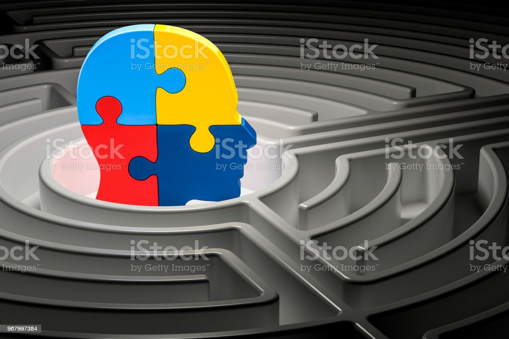 Autism concept, human head from puzzles at center of a maze. 3D rendering stock photo