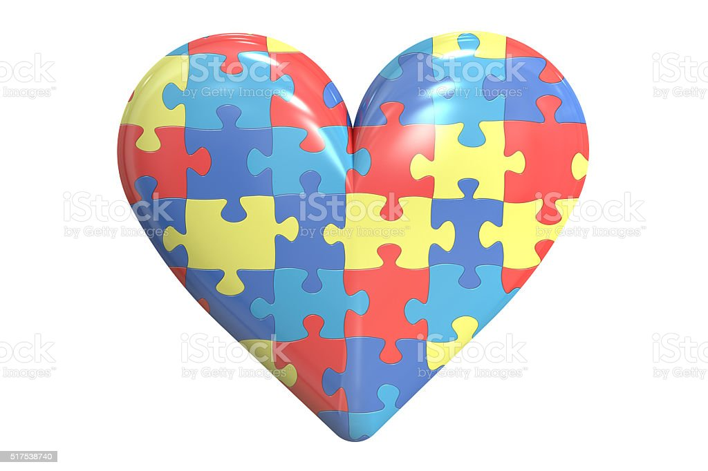 Autism concept with heart, 3D rendering stock photo