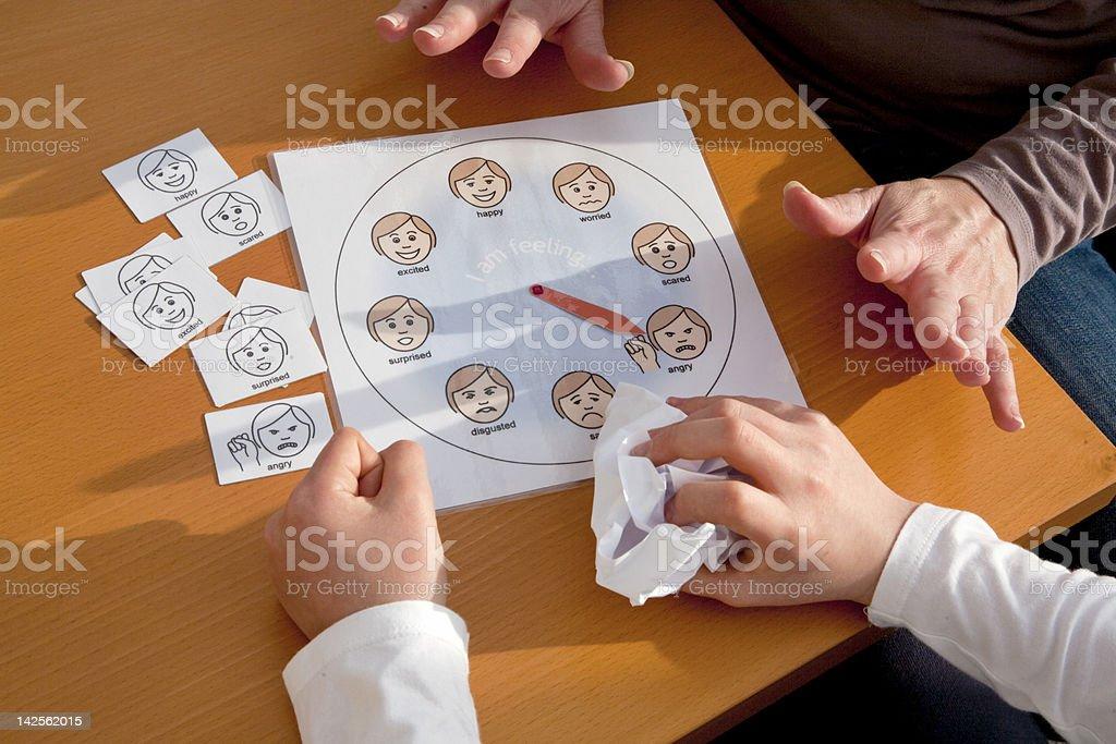 Autism emotion management stock photo
