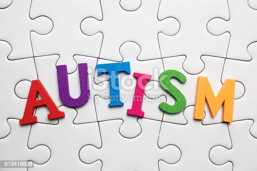 istock Autism inscription on a white puzzle background 513419808