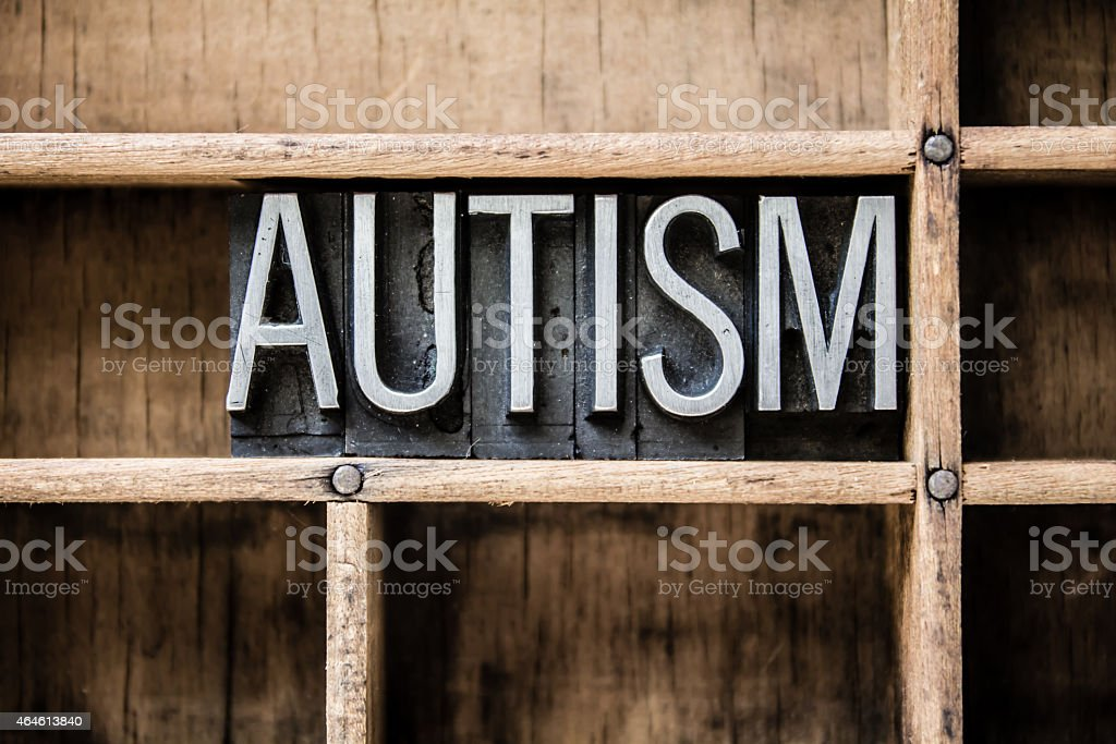 Autism Letterpress Type in Drawer stock photo