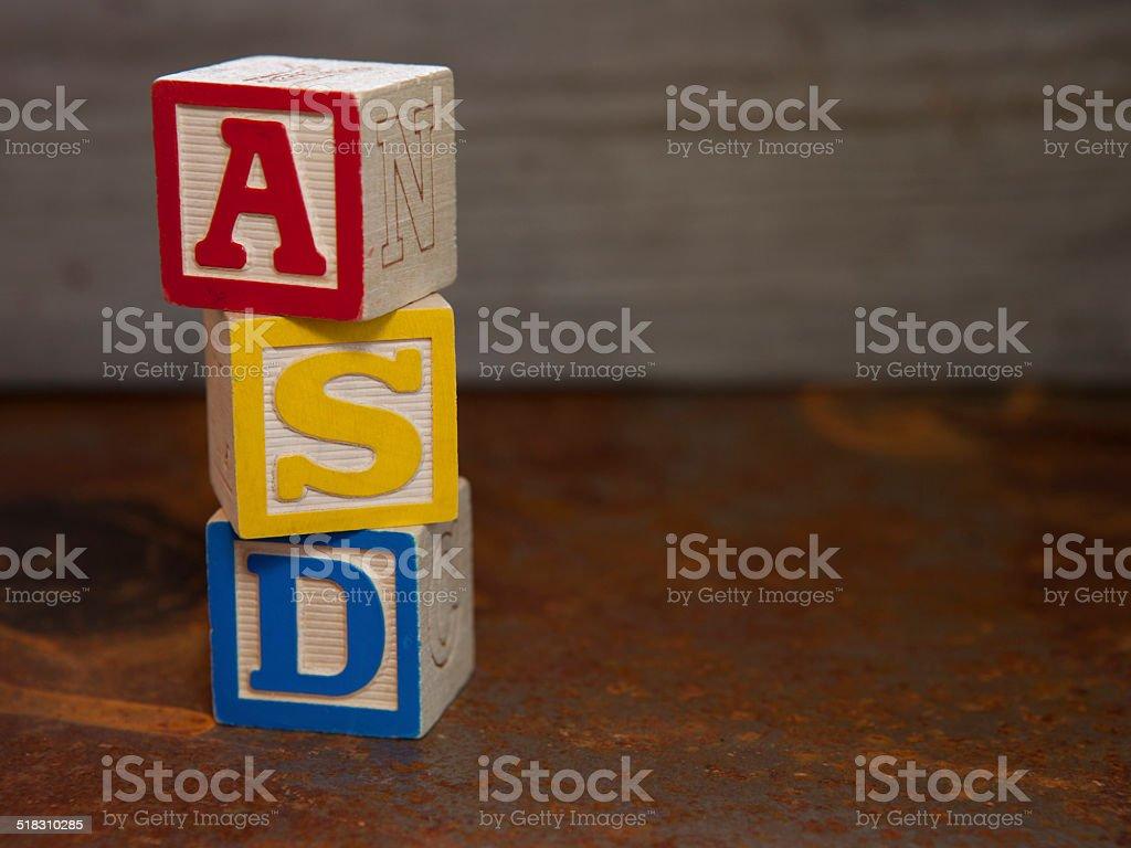 Trastornos del espectro autista (ASD) cuadras - foto de stock