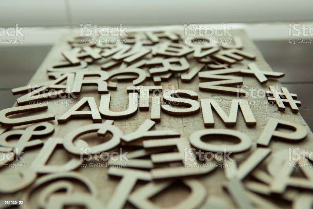 Autism spelled in wooden letters royalty-free stock photo