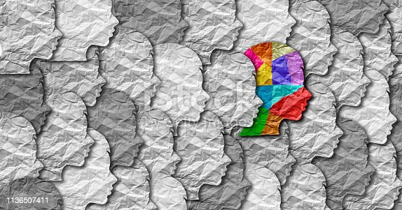 Autism syndrome person and Autistic social developmental education disorder puzzle children symbol as a child special learning icon as jigsaw pieces coming together to form a young student head in a 3D illustration.