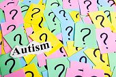 Autism Syndrome text on colorful sticky notes Against the background of question marks