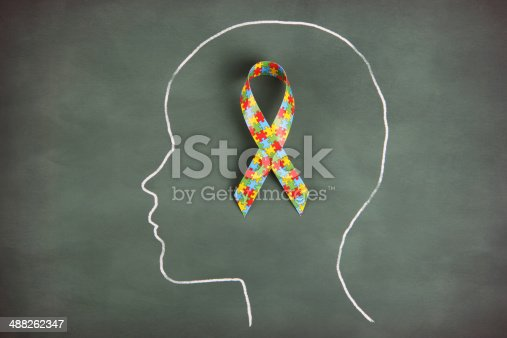 Autism ribbon in chalk outline of person's head on blackboard.  Note all drawings and art are my own.